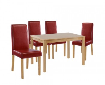 Foxton Oak Medium Red Kitchen Set