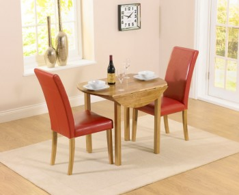 Hainton Round Drop Leaf Red Dining Set