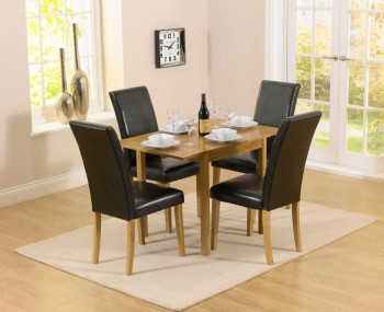 Hainton Rectangle Drop Leaf Black Dining Set