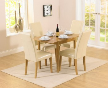 Hainton Rectangle Drop Leaf Cream Dining Set