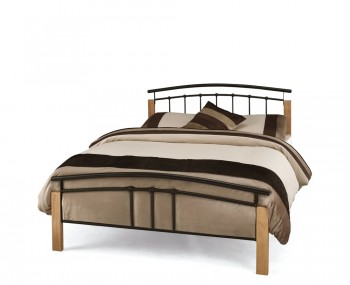 Tetras Black Metal and Beech Bed Frame