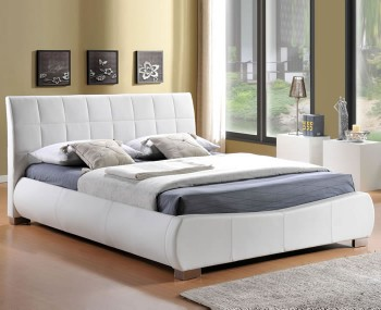 Dorado White Faux Leather Bedstead
