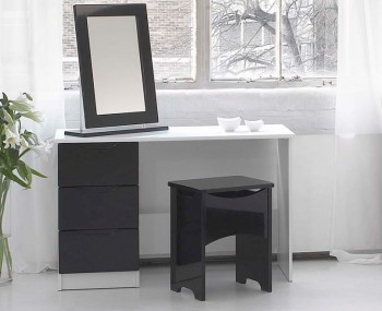 Trend White High Gloss Dressing Table Stool And Mirror Option - Black gloss dressing table