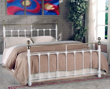 Tarvos White Metal Bed Frame
