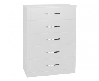 Dari White High Gloss 5 Drawer Chest