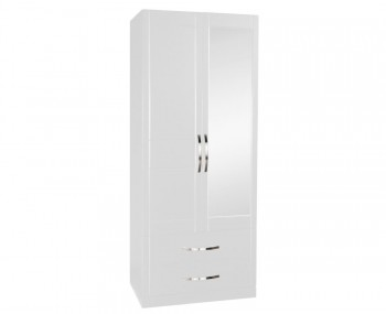 Dari White 2 Door 2 Drawer Wardrobe with Mirror