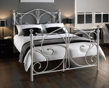 Empoli White Metal Bed Frame