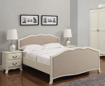 Calvados Antique White Wooden Bed Frame