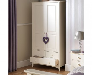 Cameo 2 Door Combi Off-White Wardrobe