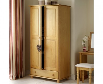 Pickwick 2 Door 1 Drawer Pine Wardrobe
