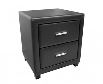 Archie Black Faux Leather Bedside Chest