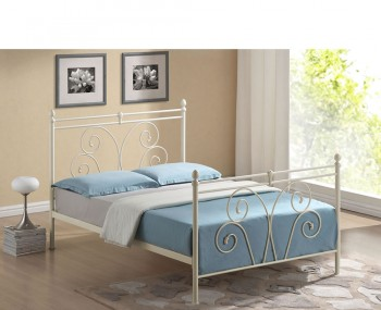 Layla Ivory Metal Bed Frame