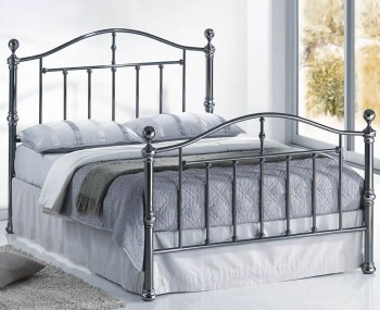 Antonia Antique Nickel Metal Bed Frame