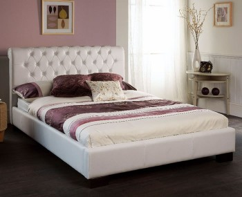 Aries White Faux Leather Bedstead