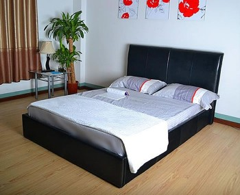 Indiana Black Faux Leather Bed