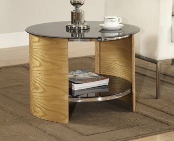 Zennor Round Oak and Glass Lamp Table