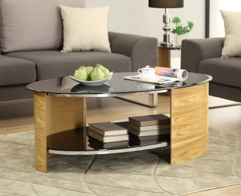 Zennor Oval Oak and Glass Coffee Table