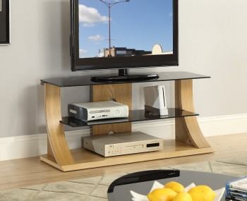 Dudley Large Oak and Glass TV Stand
