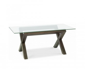 Lyon Walnut Glass Top Dining Table