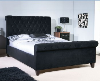 Bertelli Black Upholstered Bed Frame