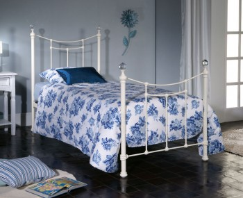 Philia Ivory Metal Bed Frame