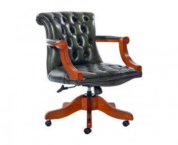 Raleigh Antique Green Leather Office Chair