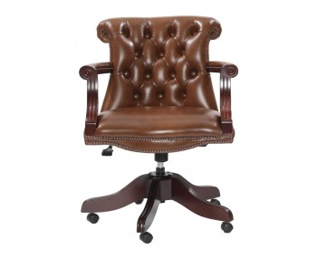 Raleigh Antique Gold Leather Office Chair