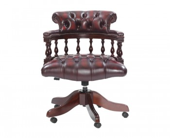 Grenville Antique Red Leather Office Chair
