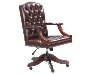 Frobisher Antique Red Leather Office Chair