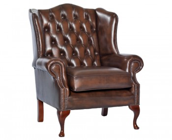 Amerigo Antique Brown Leather Arm Chair