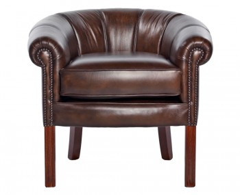 Hernando Antique Brown Leather Tub Chair