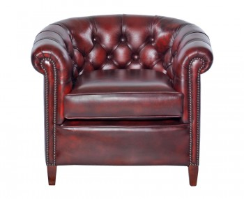 Herschel Antique Red Leather Tub Chair