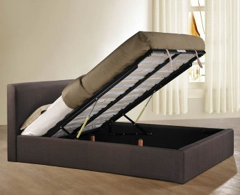 Reynolds Chocolate Upholstered Ottoman Bed - 4ft Size only