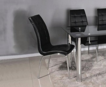 Papetti Black Faux Leather Dining Chairs