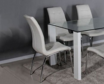 Papetti White Faux Leather Dining Chairs