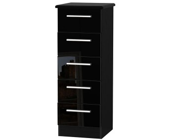Knight Black High Gloss 5 Drawer Narrow Chest