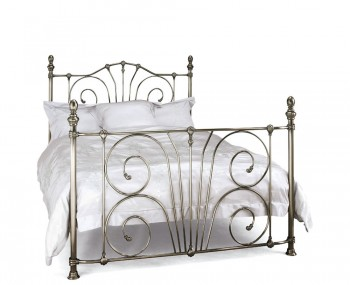 Jess Antique Nickel Metal Bed Frame