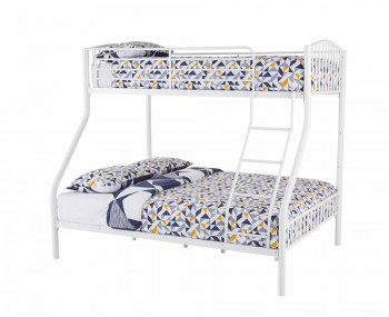 Oslo Three-Sleeper White Metal Bunk Bed