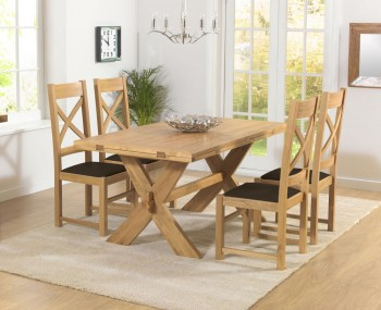 Rivoli Oak All Sides Extending Dining Table and Chairs