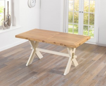 Rivoli Oak and Cream All Sides Extending Dining Table