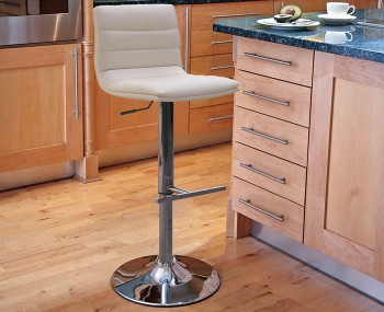 Barletto Cream Faux Leather Bar Stool