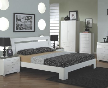 Cardiff White High Gloss Bed Frame