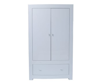 Cardiff White High Gloss 2 Door 1 Drawer Wardrobe