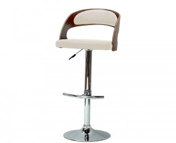 Dieppe Walnut and Cream Faux Leather Bar Stool