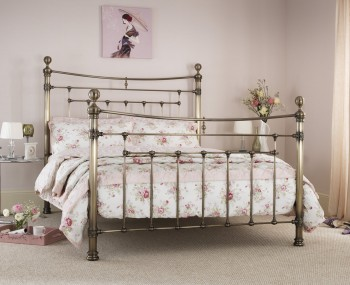 Edmond Antique Brass Metal Bed Frame