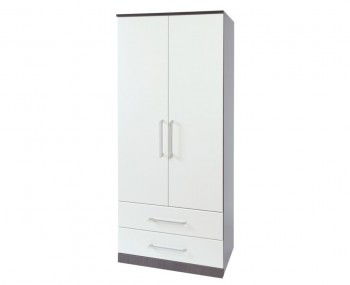 Havana White 2 Door Fronted Wardrobe with Drawers