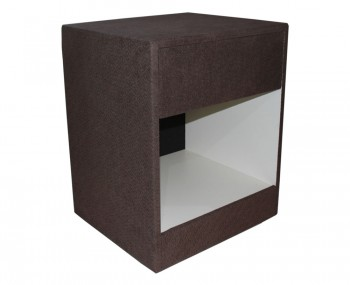 Star Upholstered Walnut Chenille Bedside Table *Special Offer*