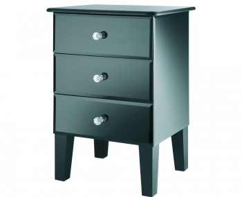 Innsbruck Black Mirrored Glass 3 Drawer Bedside Chest