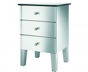 Innsbruck Clear Mirrored Glass 3 Drawer Bedside Chest