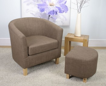 Falkirk Cinnamon Linen Fabric Tub Chair and Stool